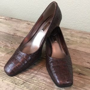 Ecco leather croc print brown stacked wood pump 39